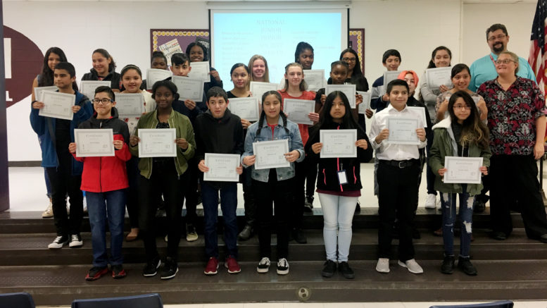24 eighth graders were inducted into the National Junior Honor Society. /Photo: Courtesy ZSD6