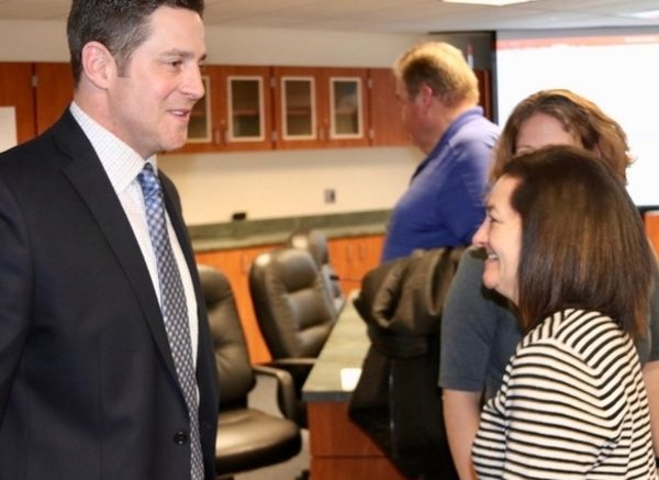 The new superintendent talked with Jill Martin, Principal of Hawthorn Elementary South. /Photo: courtesy HSD73